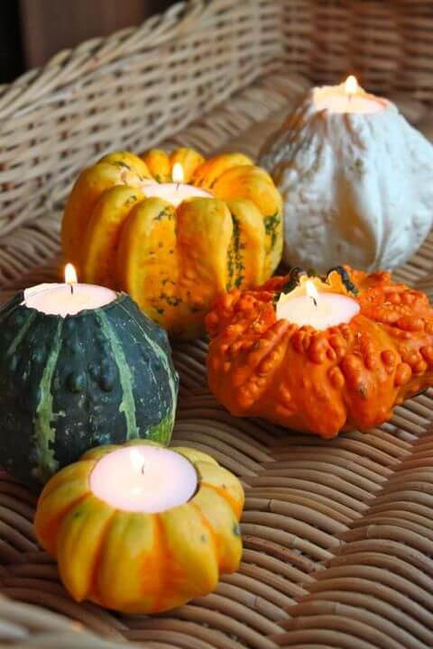 DIY gourd candle holders | DIY Fall Candle Decoration Ideas - Farmfoodfamily.com