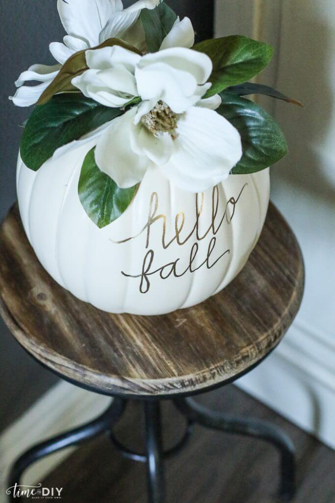 DIY Magnolia Pumpkin | No-Carve Pumpkin Decorating Ideas For This Halloween