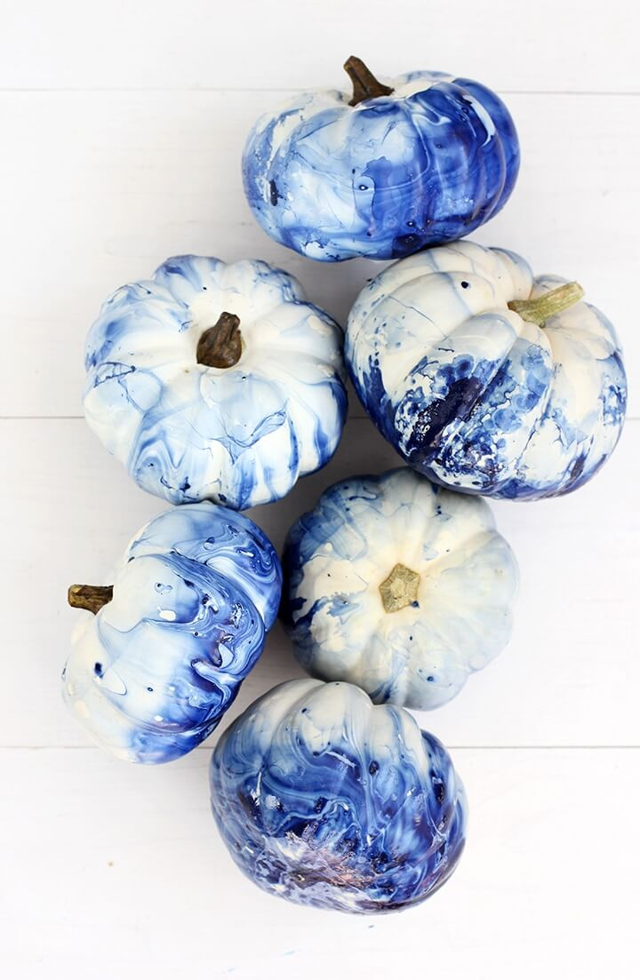 Marbled Indigo Pumpkins | No-Carve Pumpkin Decorating Ideas For This Halloween