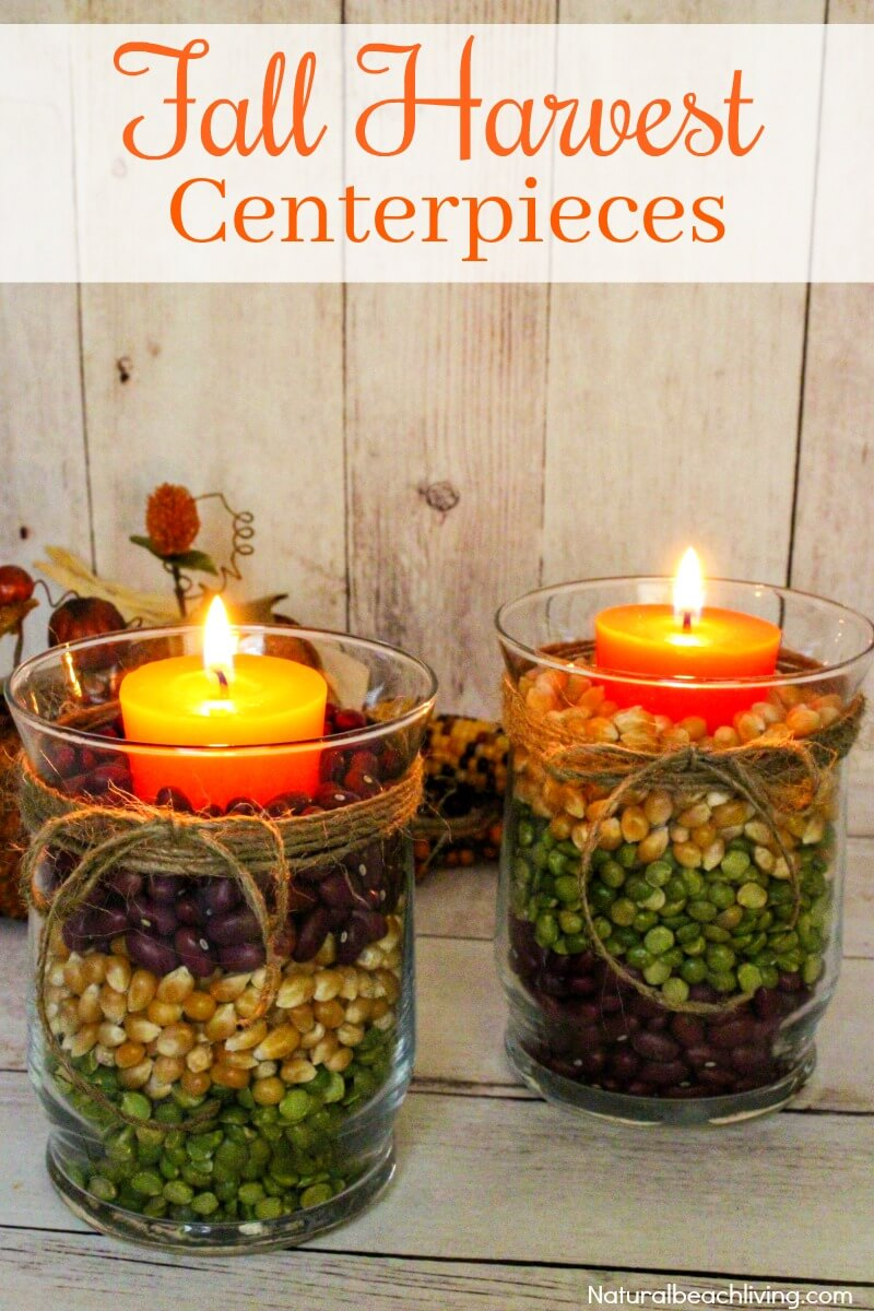 Fall Harvest Centerpieces | DIY Fall Candle Decoration Ideas - Farmfoodfamily.com
