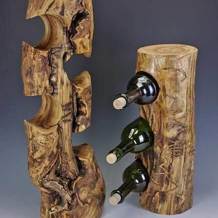 Wine Bottle Holder | DIY Wood Tree Log Decor Ideas - FarmFoodFamily.com