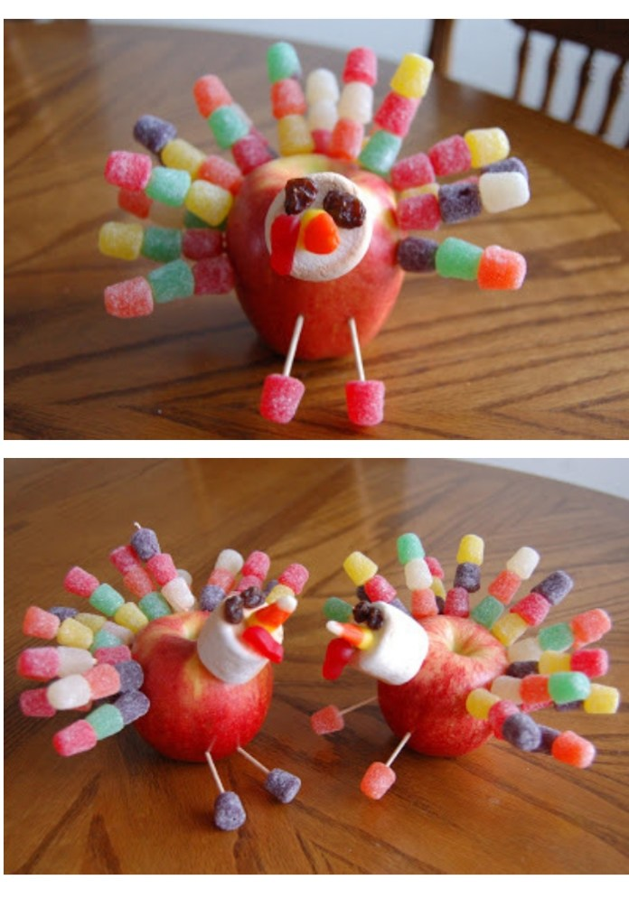 Apple turkeys | Simple Ideas for Kids' Crafts for Thanksgiving - FarmFoodFamily.com