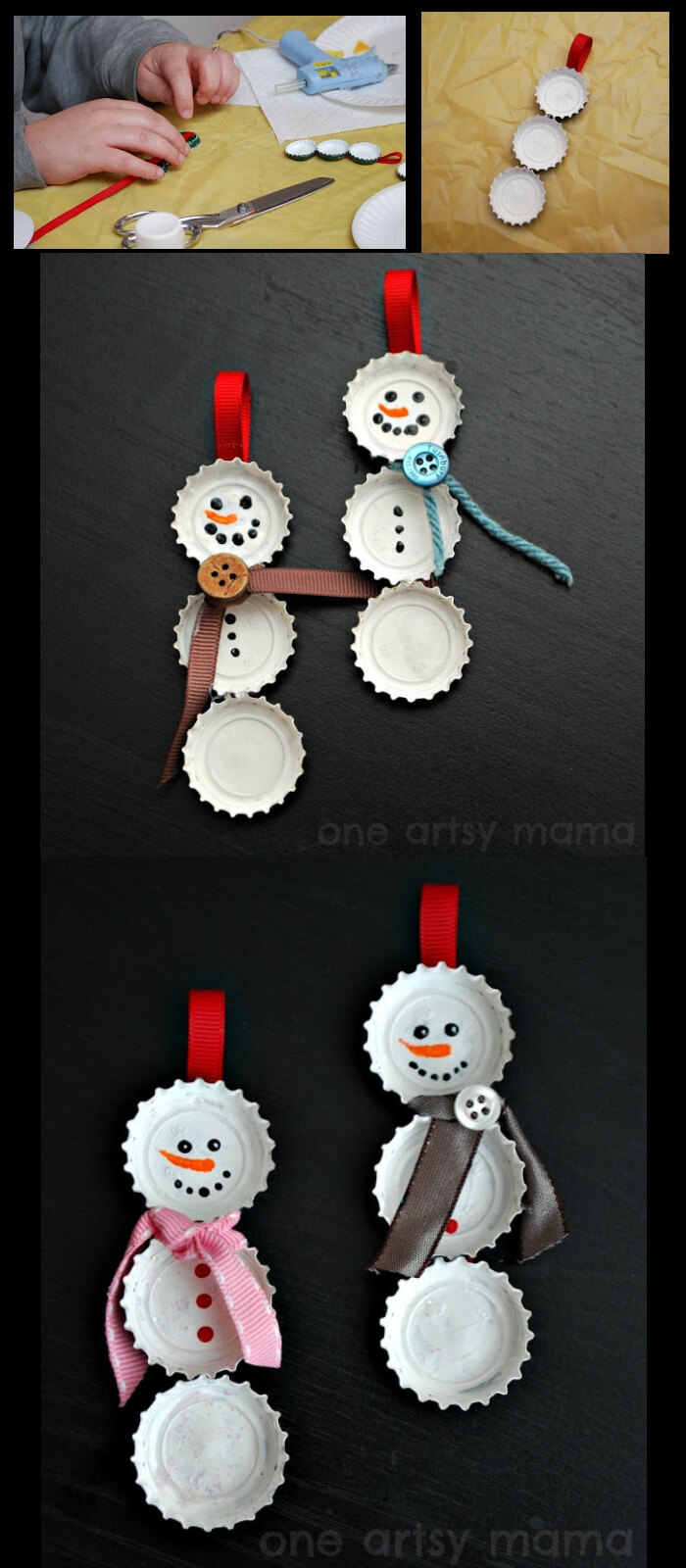 Bottle Cap Snowman | Cute and Easy Christmas Ornament Ideas