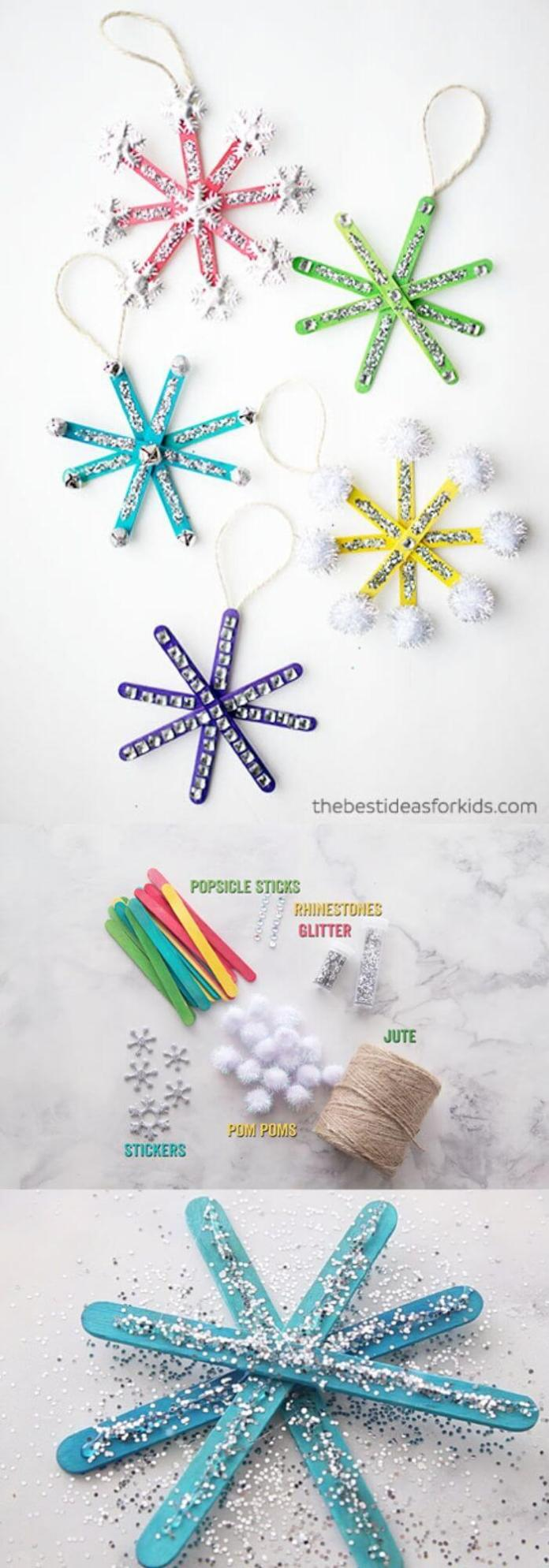 Popsicle Stick Snowflake Ornaments | Easy, Inexpensive, and Creative Christmas Crafts for Kids