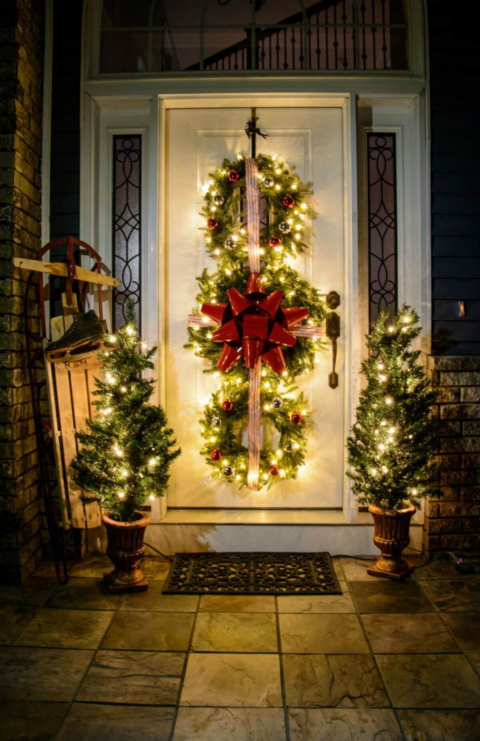 Christmas wreath trio | Christmas Door and Window Lighting Decorating Ideas