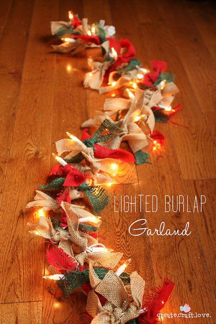 Light Burlap Garland | Christmas Door and Window Lighting Decorating Ideas