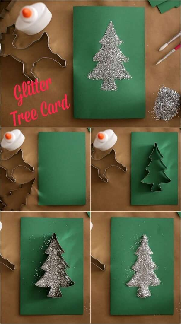 Glitter Tree Card | Christmas Craft Ideas for Preschoolers
