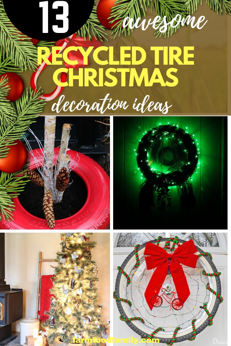 Best Recycled Tire Christmas Decoration Ideas