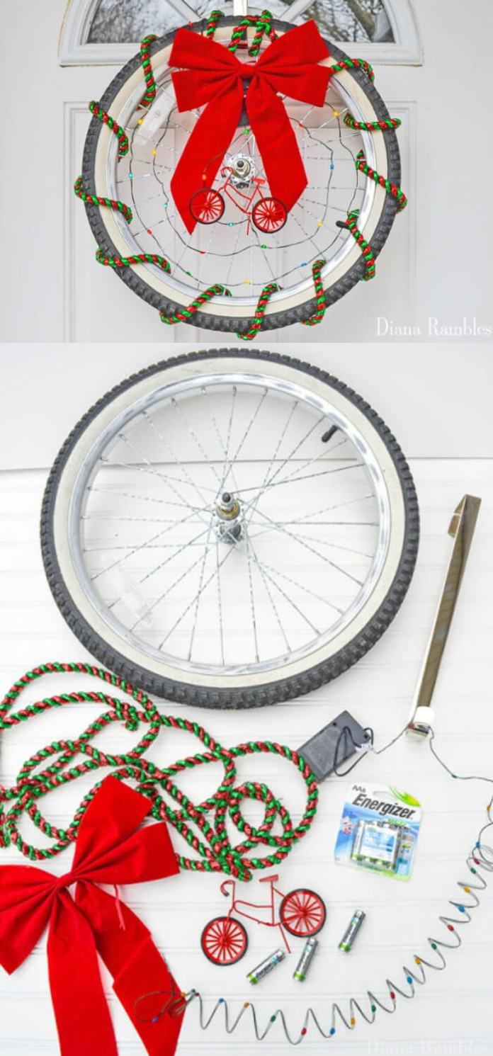 Bicycle Christmas Wreath Tutorial | Best Recycled Tire Christmas Decoration Ideas | FarmFoodFamily.com