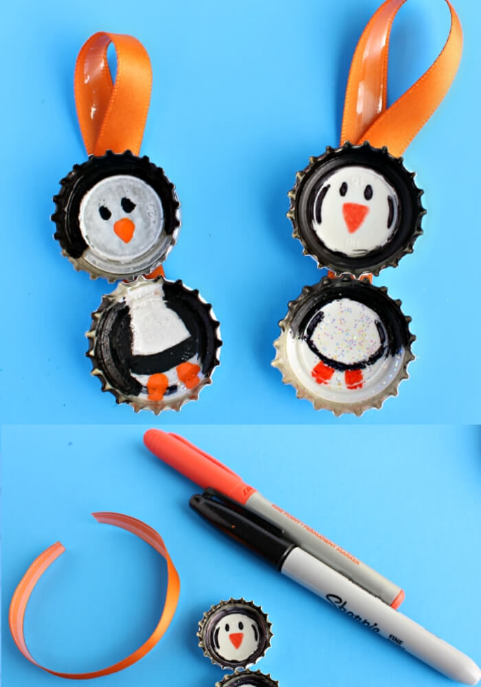 Bottle Cap Penguin Craft for Kids | Christmas Craft Ideas for Preschoolers