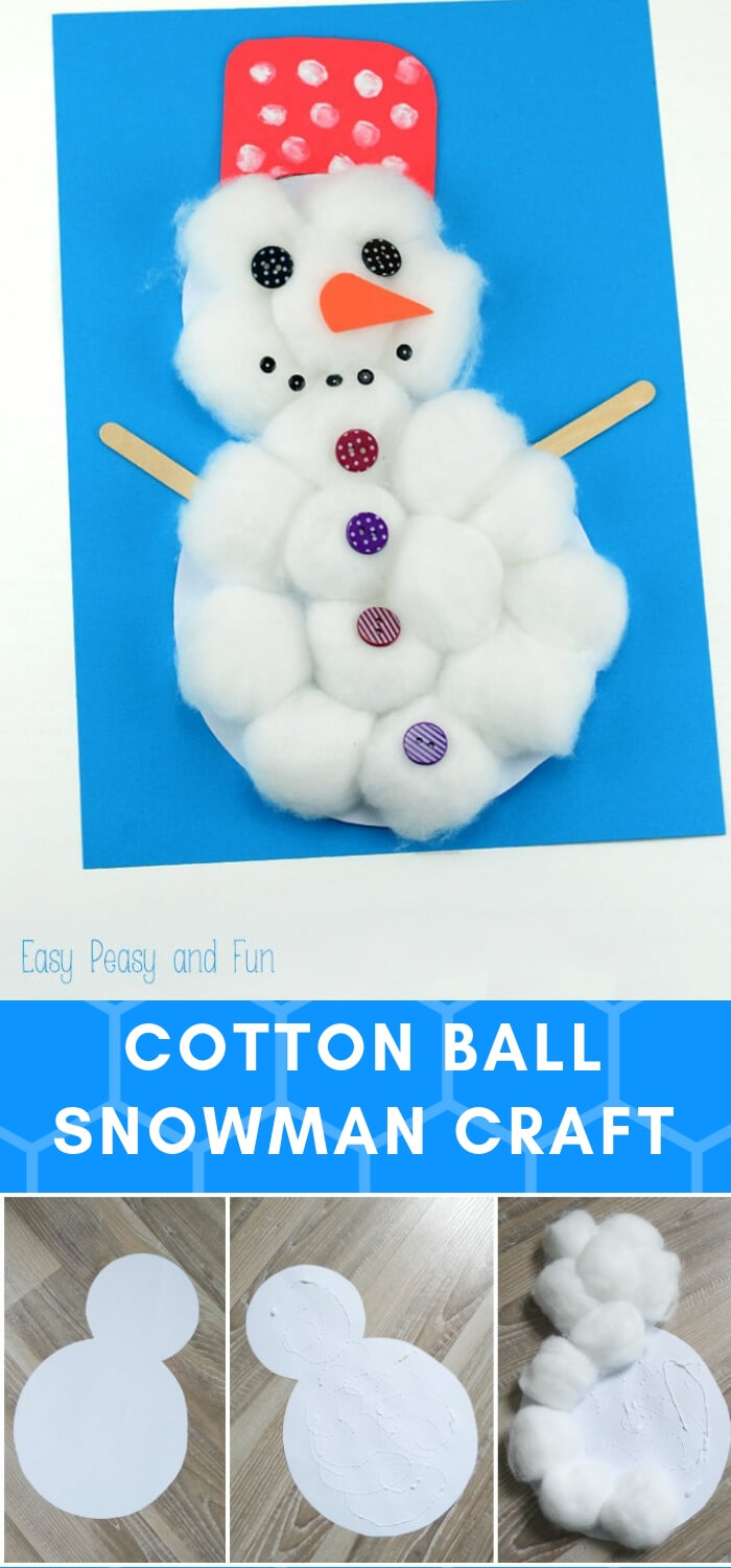 Cotton Ball Snowman | Christmas Craft Ideas for Preschoolers
