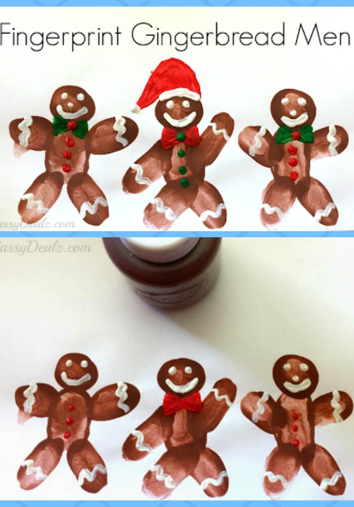 DIY Fingerprint Gingerbread Man Craft For Kids | Christmas Craft Ideas for Preschoolers