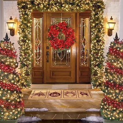 Wreath with Christmas Lights on Entry Door | Christmas Door and Window Lighting Decorating Ideas