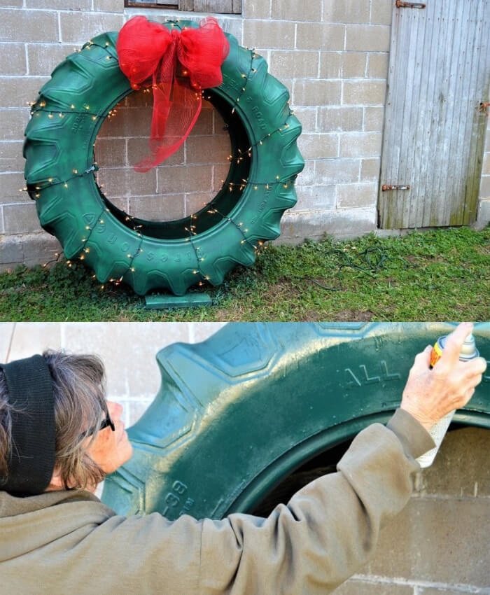 Hillbilly Christmas Wreath | Best Recycled Tire Christmas Decoration Ideas | FarmFoodFamily.com