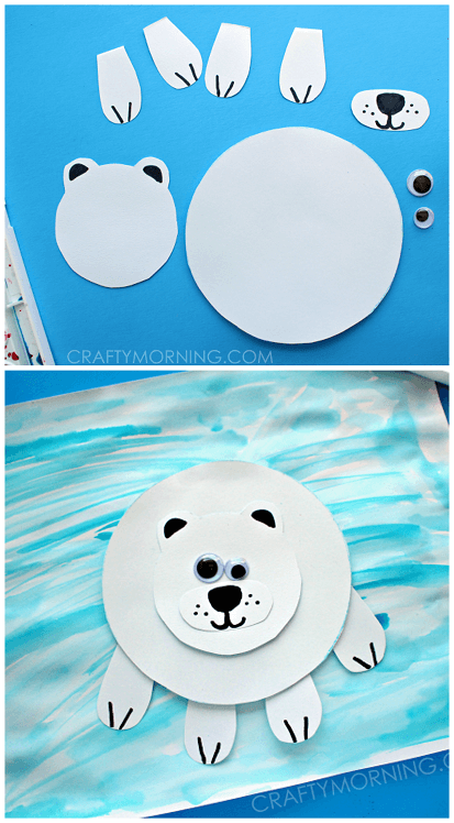 Paper Polar Bear on Ice Craft for Kids | Christmas Craft Ideas for Preschoolers