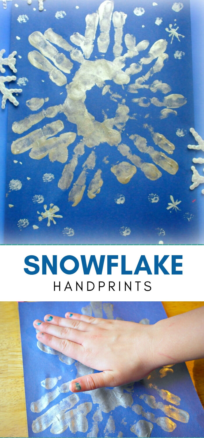 Snowflake handprints | Christmas Craft Ideas for Preschoolers