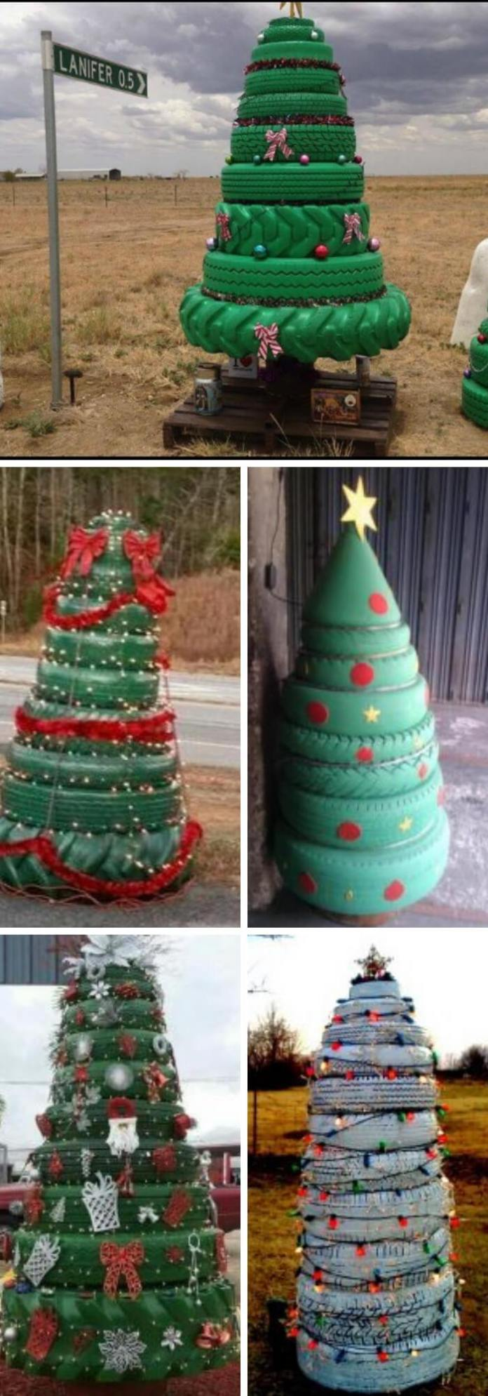 Tire Christmas tree | Best Recycled Tire Christmas Decoration Ideas | FarmFoodFamily.com