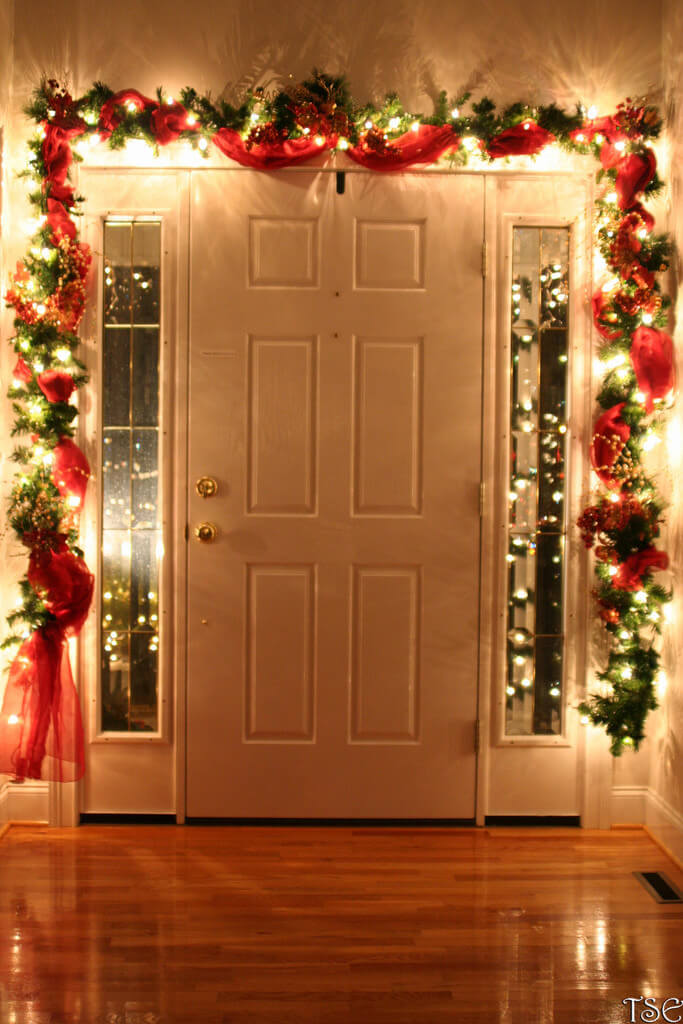 Your front door with light | Christmas Door and Window Lighting Decorating Ideas