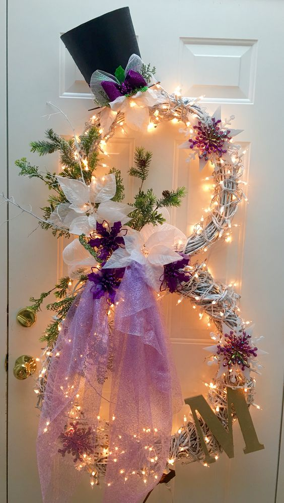 Winter snowman wreath in Purple | Christmas Door and Window Lighting Decorating Ideas