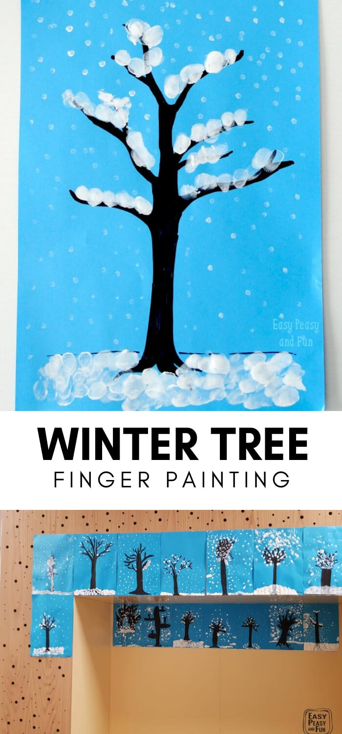 Winter Tree Finger Painting | Christmas Craft Ideas for Preschoolers