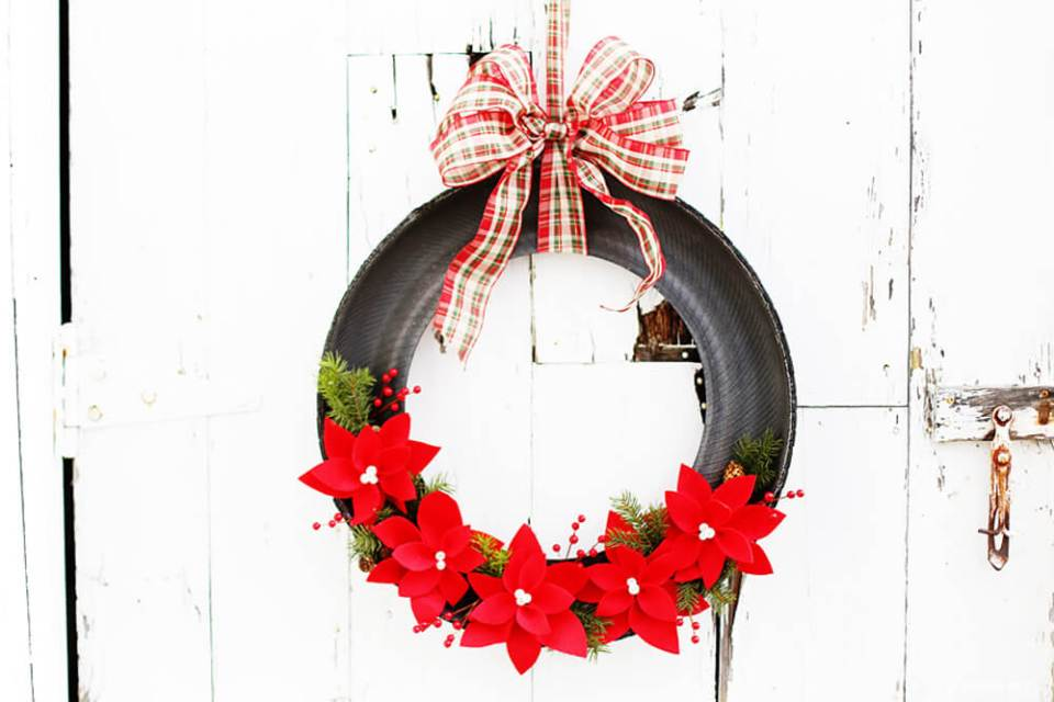 Holiday Poinsettia Tire Wreath | Best Recycled Tire Christmas Decoration Ideas | FarmFoodFamily.com