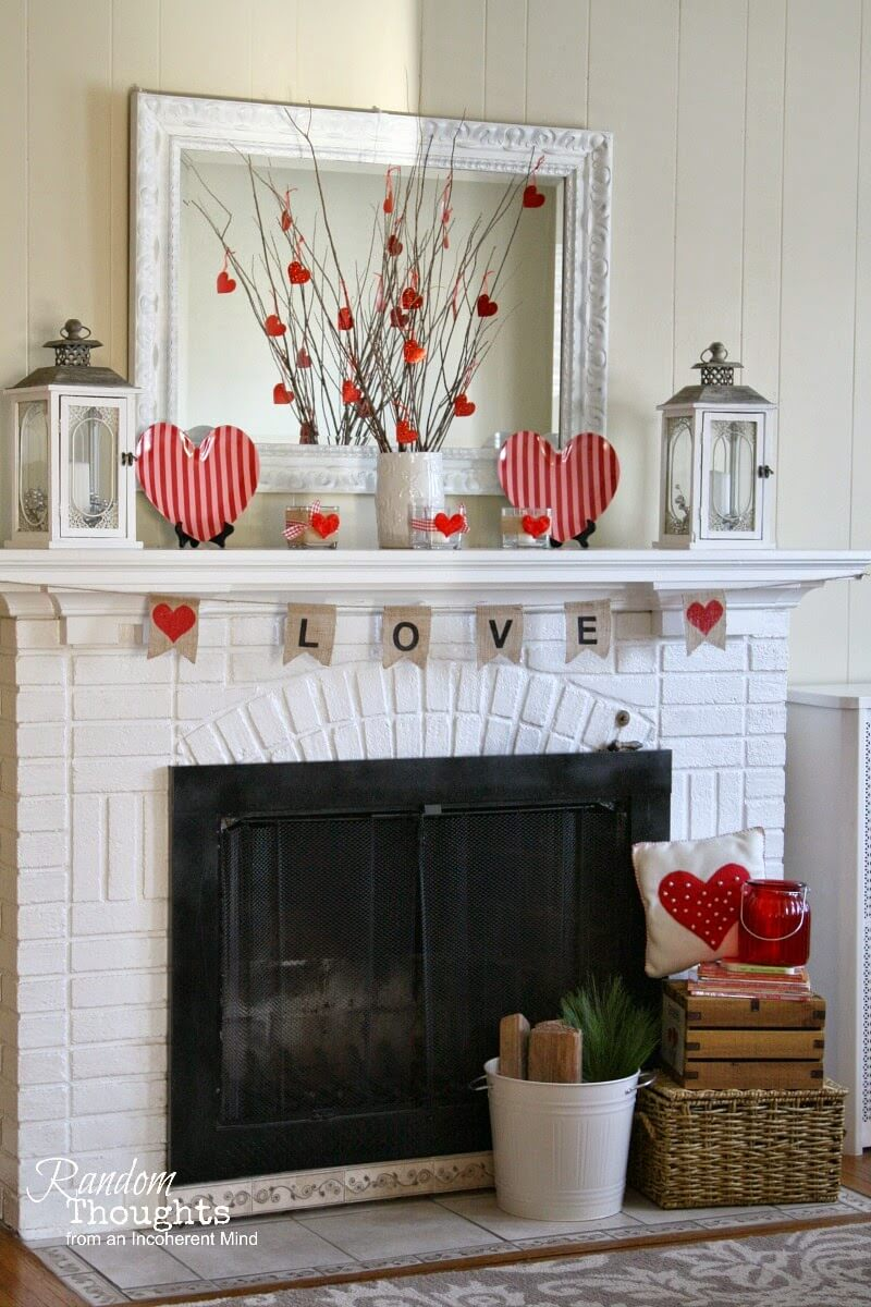 Valentine's Day Mantel | Valentine's Day Decorating Ideas For Your Lovers | FarmFoodFamily.com