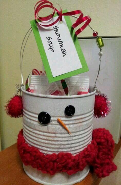 Snow man soup | Personalized Christmas Gifts from Recycled Tins