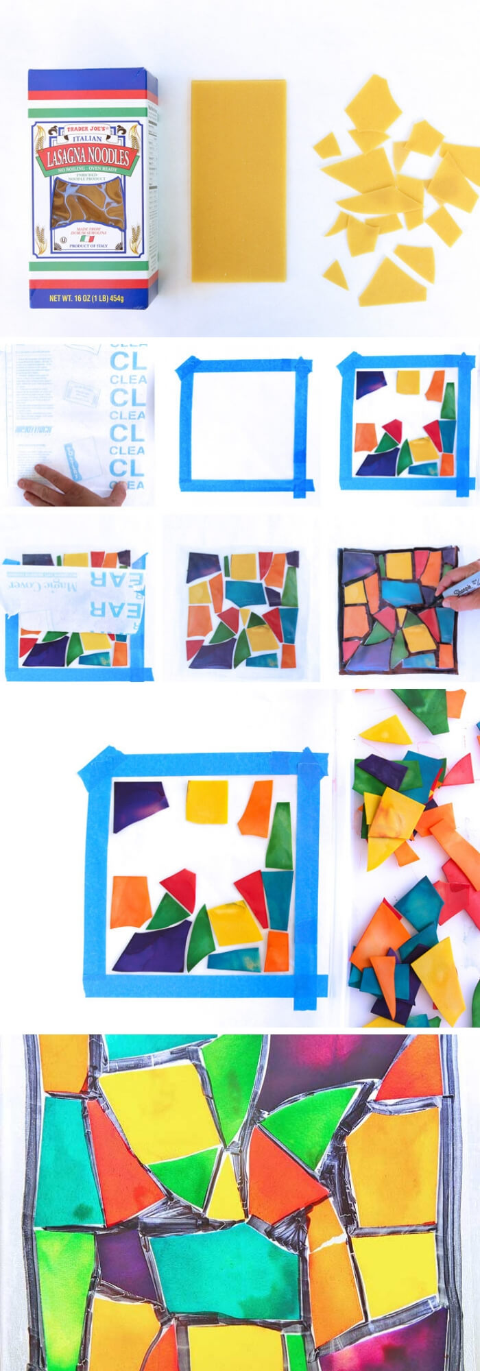 Children's Holiday Craft Ideas – Faux Stained Glass Valentine's Day Window Hangings   Pasta Crafts: Stained Glass Pasta