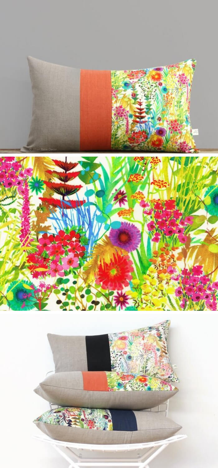 Home Decorating Ideas With Flowers: Abstract floral Liberty Print decorative pillow
