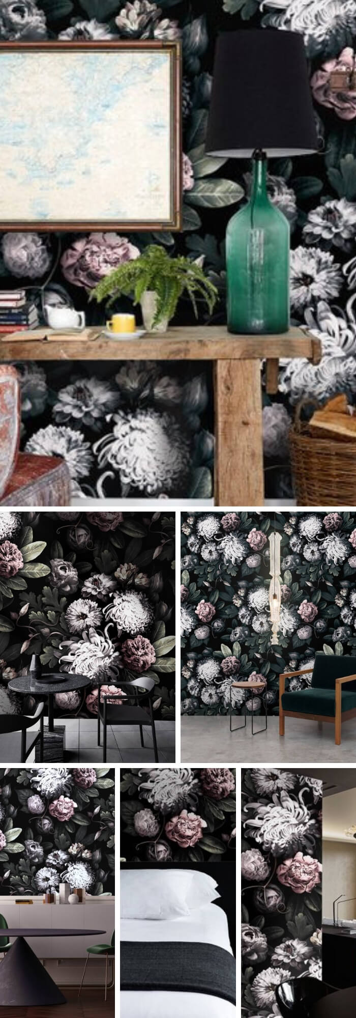 Home Decorating Ideas With Flowers: Dark Floral Wallpaper