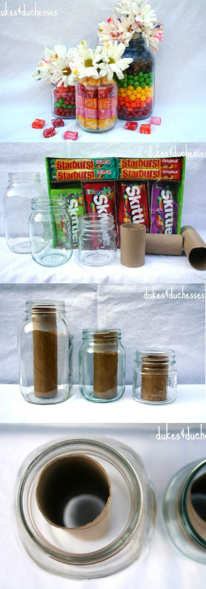Candy-Filled Mason Jar Vases | DIY Mason Jar Gift Ideas For Valentine's Day | FarmFoodFamily.com