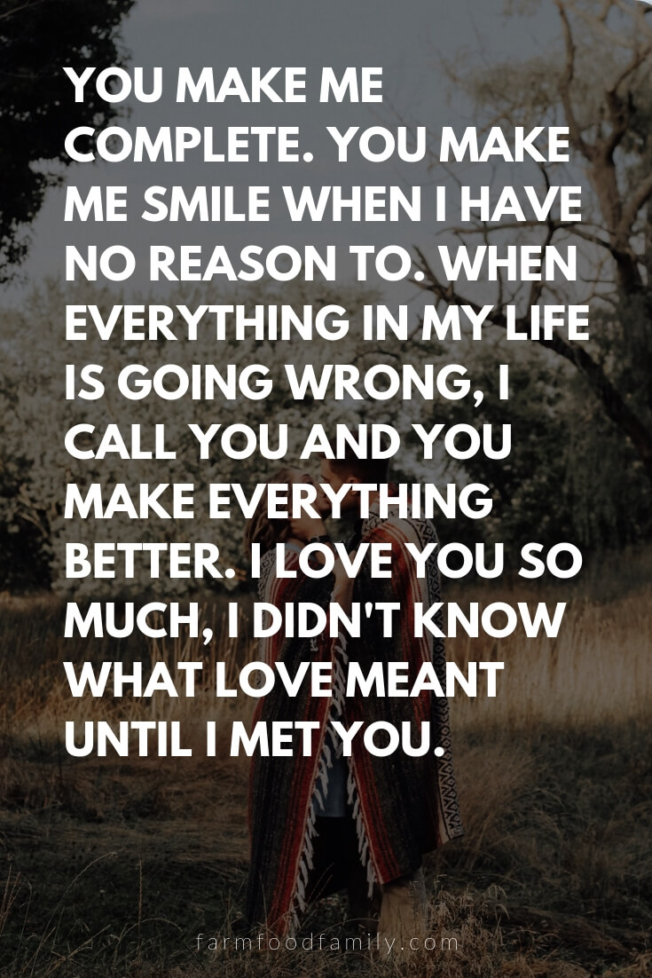 Cute, Funny, and Sweet Love Quotes For Him | You make me complete. You make me smile when I have no reason to. When everything in my life is going wrong, I call you and you make everything better. I love you so much, I didn't know what love meant until I met you.