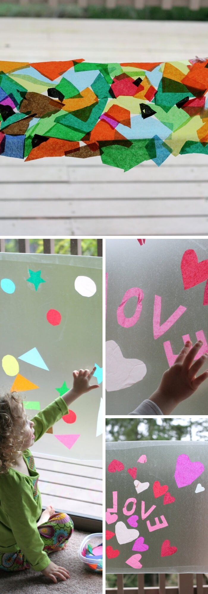 Children's Holiday Craft Ideas – Faux Stained Glass Valentine's Day Window Hangings | Contact Paper Window Art