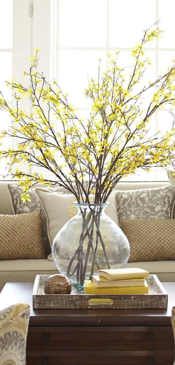 Quick Decorating Changes for Spring: Faux Forsythia Branch