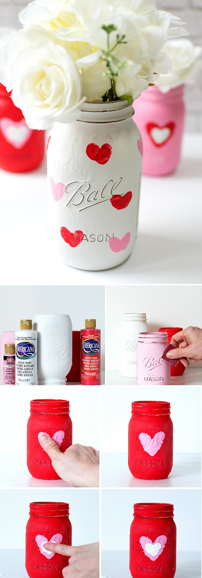 Valentine Kid Craft Thumbprint Heart Jars | DIY Mason Jar Gift Ideas For Valentine's Day | FarmFoodFamily.com