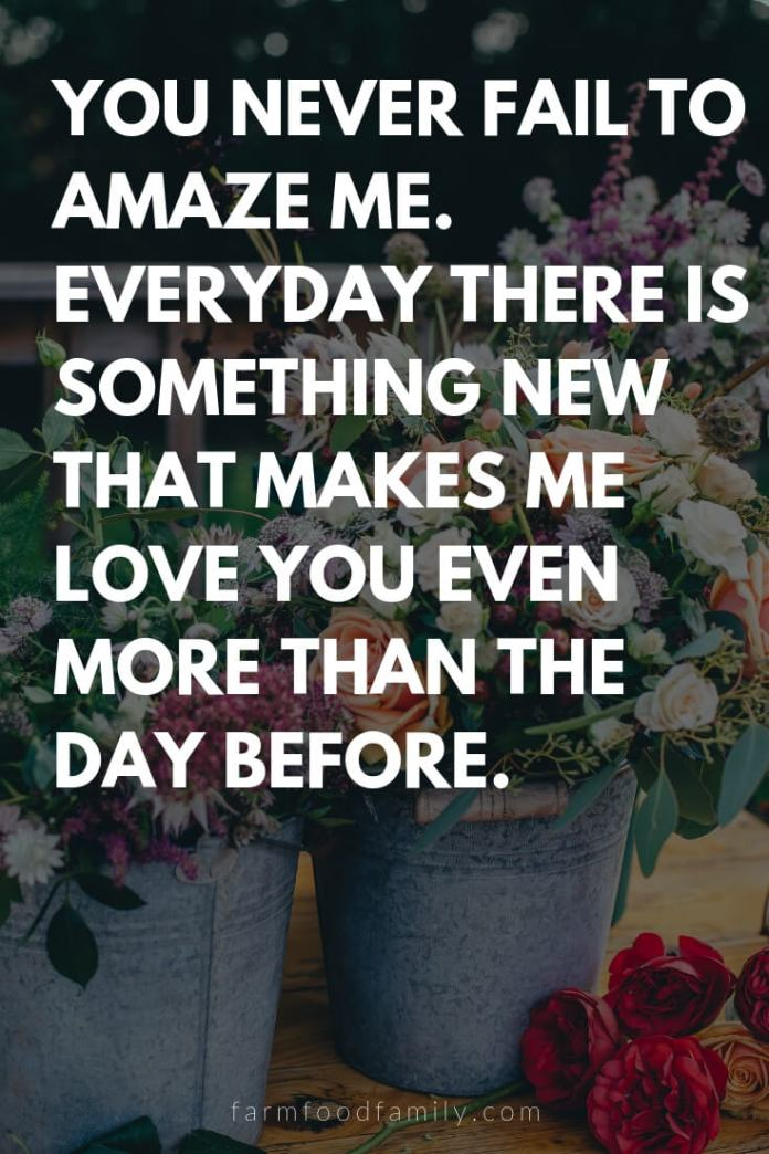 Cute, Funny, and Sweet Love Quotes For Him   You never fail to amaze me. Everyday there is something new that makes me love you even more than the day before.