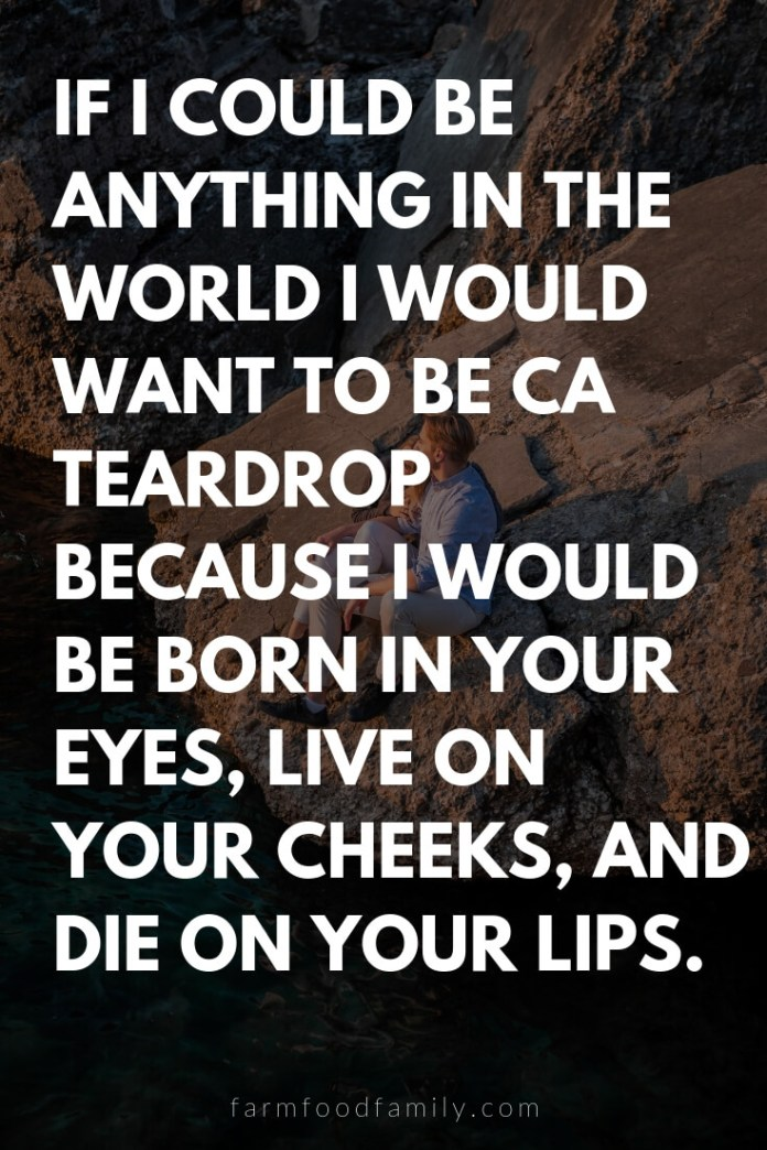 Cute, Funny, and Sweet Love Quotes For Him   If I could be anything in the world I would want to be ca teardrop because I would be born in your eyes, live on your cheeks, and die on your lips.