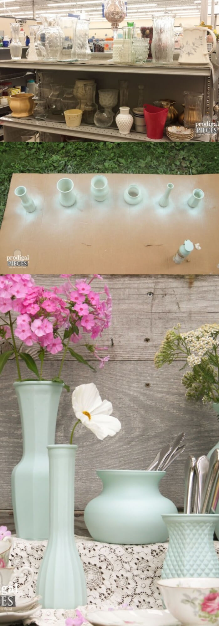 Thrifted Glass DIY Vignette | Spring Spruce-Up - Quick, Cheap Home Décor Ideas | FarmFoodFamily.com
