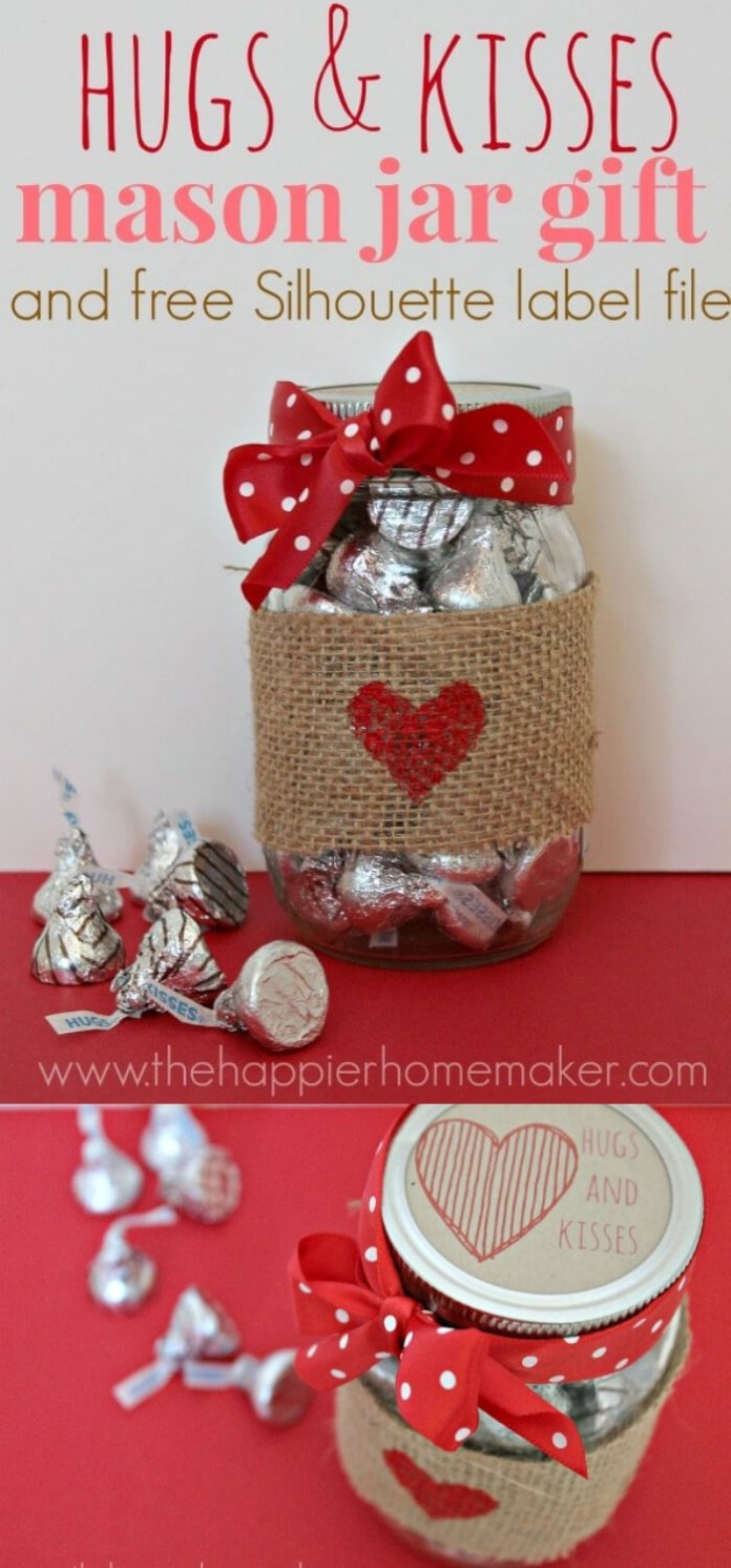 Hugs and Kisses Mason Jar Gift | DIY Mason Jar Gift Ideas For Valentine's Day | FarmFoodFamily.com