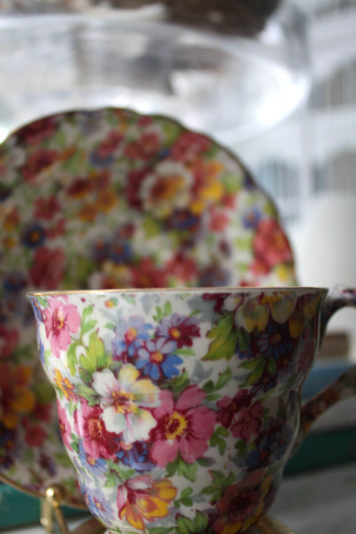 Home Decorating Ideas With Flowers: China cup and saucer with a floral pattern