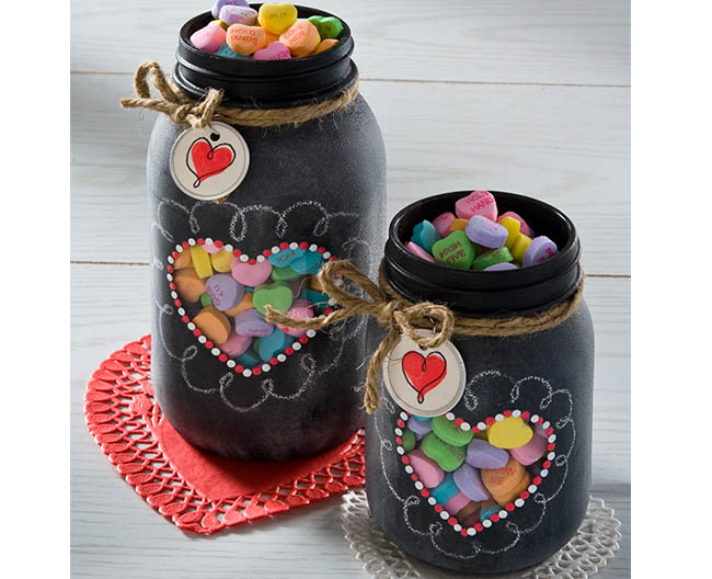 Valentine Chalkboard Mason Jars | DIY Mason Jar Gift Ideas For Valentine's Day | FarmFoodFamily.com