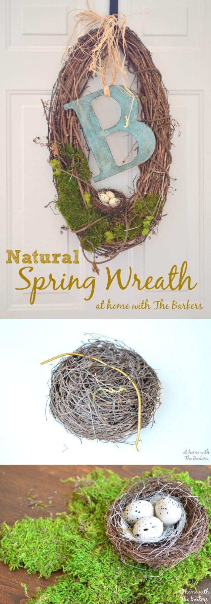 Easy and Simple DIY Spring Wreath Ideas | Natural Spring Wreath for front door