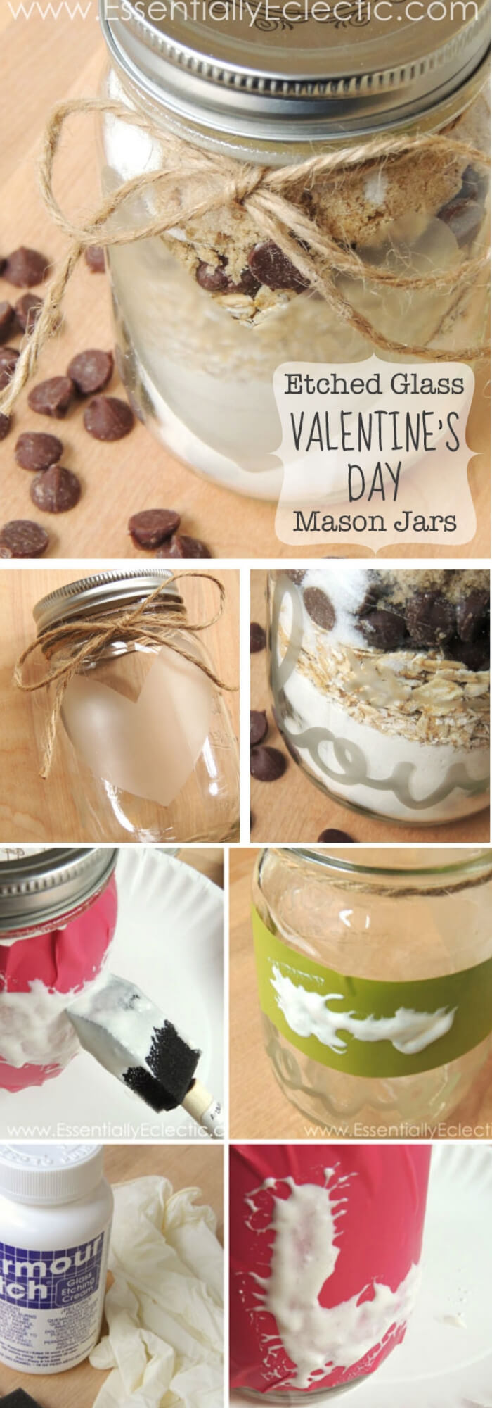 Etched Glass Valentine's Day Gift Mason Jars + Free Cut File | DIY Mason Jar Gift Ideas For Valentine's Day | FarmFoodFamily.com