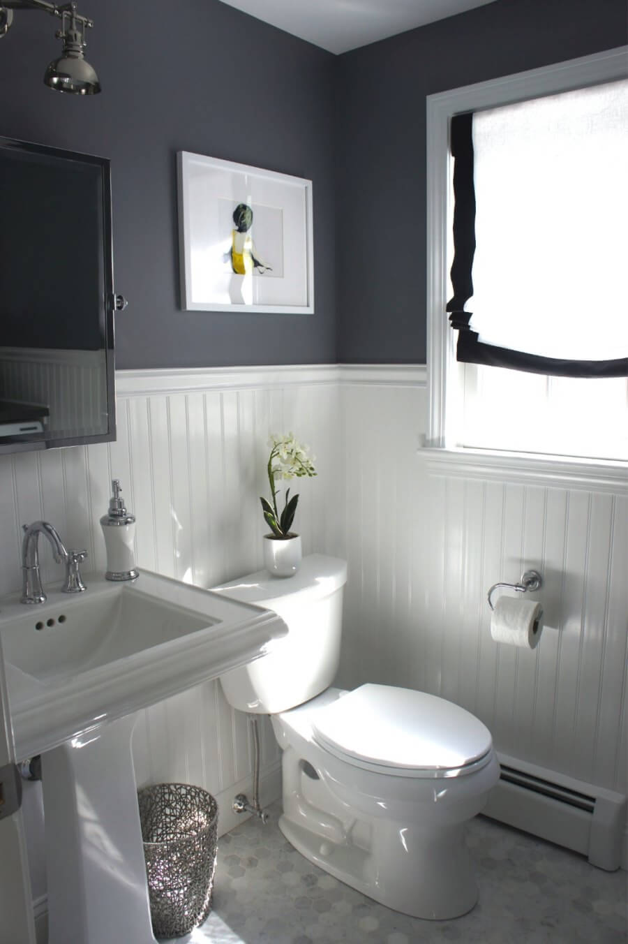 Beadboard paneling in a grey bathroom | Bathroom Wainscoting: Beadboard Panels in the Bathroom Design | FarmFoodFamily.com