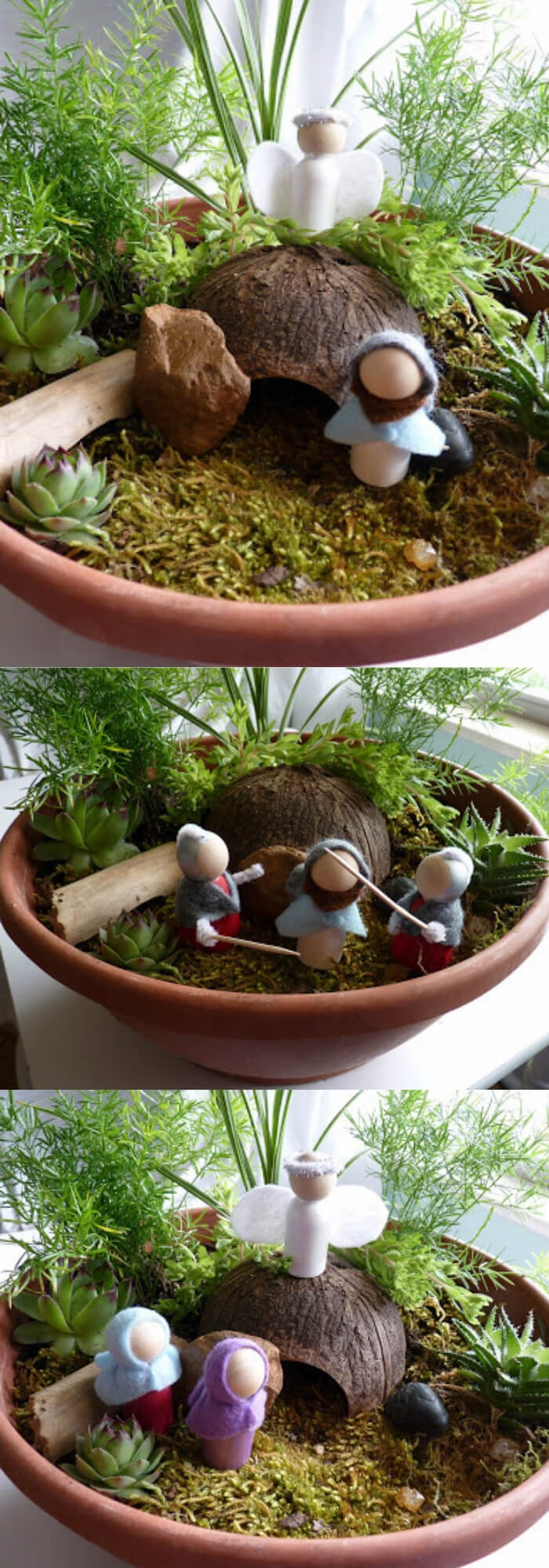 Jesus and the Angel standing by the empty tomb | Creative Easter Garden Projects & Ideas Your Kids Will Love