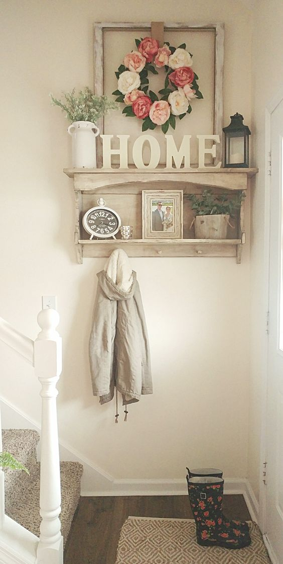 Small entryway spring flowers country white farmhouse style   Best Small Entryway Decor & Design Ideas   Small Mudroom Ideas   FarmFoodFamily.com