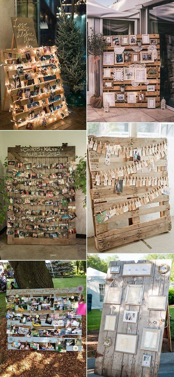 Wedding Photo Display | Creative & Rustic Backyard Wedding Ideas For Summer & Fall