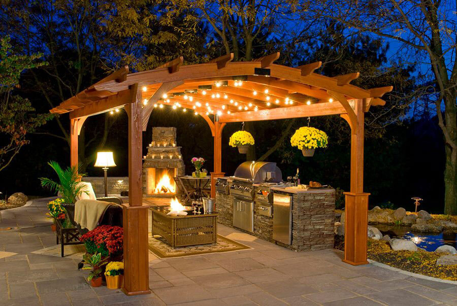 Open Kitchen Under a Canopy with Lighting | DIY Outdoor Kitchen Ideas (Cheap, Simple, Modern, and Country)