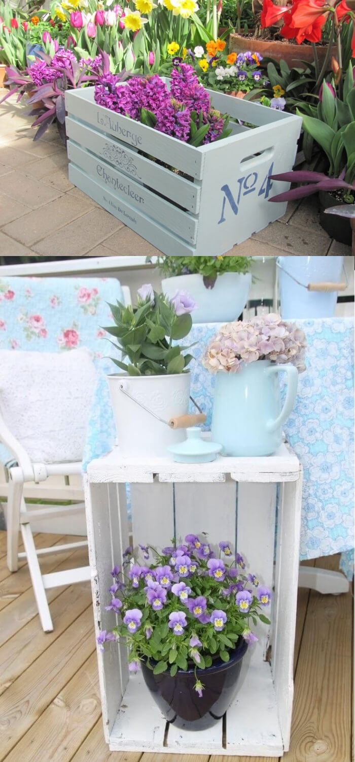 Painted Wooden Crate Table   DIY Spring Porch Decor Designs & Ideas
