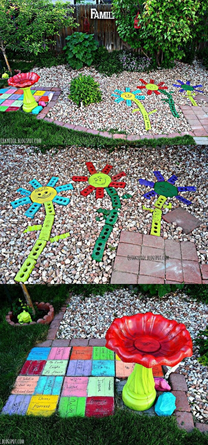 Recycled Bricks From an Old Fireplace | Best DIY Repurposed Garden Tools Ideas | Garden Craft Ideas